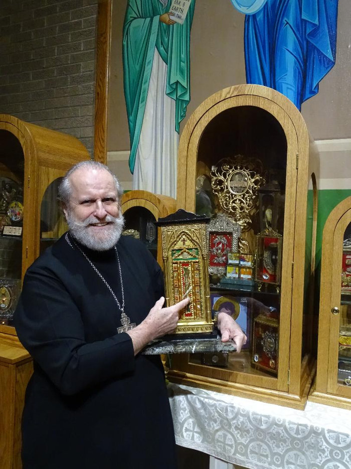 Fr Joseph Marquis with the relic of St Joseph of Arimathea